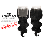 Unprocessed 100 Human Hair Weave 4X4 Bleached Knot Lace Closure Body Wave 12
