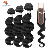 Variety Queen 100 Virgin Remy Human Hair Unprocessed Brazilian Bundle Hair Weave Body 3Pcs  2x6 Closure