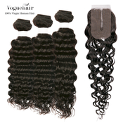 Vogue Hair 100 Virgin Human Hair Brazilian Bundle Hair Weave 6A Loose Deep 3Pcs  Lace Parting Closure