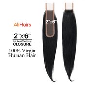 Ali Hairs 100 Virgin Human Hair Weave HandTied 2X6 Lace Closure Straight
