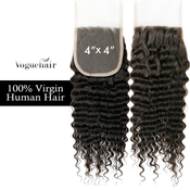 Vogue Hair 100  Virgin Human Hair HandTied 4X4 Lace Closure Deep Wave
