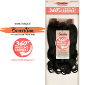Sensationnel Brazilian Virgin Remy Human Hair Weave BareAMP;Natural 360 Swiss Lace Frontal Closure Loose Deep 12