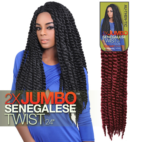 Crochet Jumbo Braids : Authentic Synthetic Hair Crochet Braids 2X Jumbo Senegalese Twist 24 ...