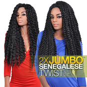 Authentic Synthetic Hair Crochet Braids 2X Jumbo Senegalese Twist 24