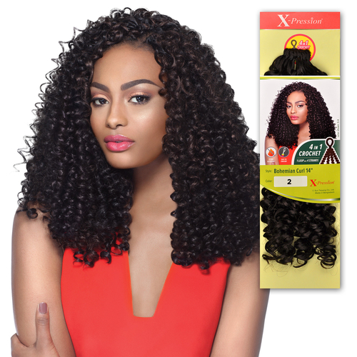 ... Hair Crochet Braids X-Pression Braid 4 In 1 Loop Bohemian Curl 14