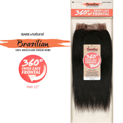 Sensationnel Brazilian Virgin Remy Human Hair Weave BareAMP;Natural 360 Swiss Lace Frontal Closure Yaki 12