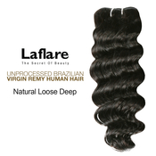 LaFlare Unprocessed Brazilian Virgin Remy Human Hair Weave Natural Loose Deep