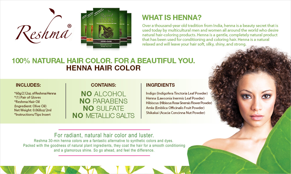 Reshma 100 Natural Henna Semi Permanent Hair Color 212oz Samsbeauty