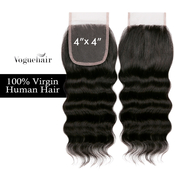 Vogue Hair 100  Virgin Human Hair HandTied 4X4 Lace Closure Loose Deep