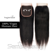 Vogue Hair 100  Virgin Human Hair HandTied 4X4 Lace Closure Straight