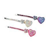 Darling Coupled Heart Rhinestone Hair Pin