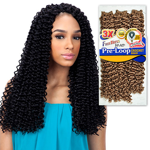FreeTress Synthetic Hair Braids 3X Pre-loop Crochet Braid Water Wave ...