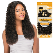 Sensationnel Unprocessed Malaysian Virgin Remy Human Hair Weave Bare AMP; Natural Cork Screw 6Pcs Free Closure