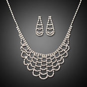 Layered Rhinestone Necklace and Earrings