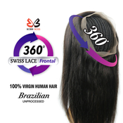 Bobbi Boss Unprocessed Brazilian Virgin Remy Human Hair Weave BeREAL 360 Swiss Lace Frontal Closure Straight