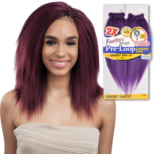 FreeTress Synthetic Hair Crochet Braids 2X Pre-Loop Crochet Yaky 10