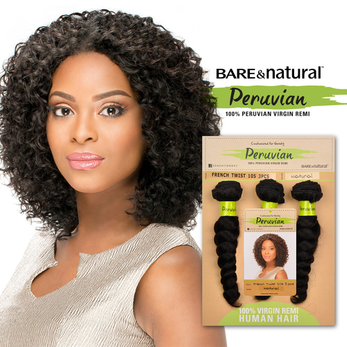 Sensationnel Unprocessed Peruvian Virgin Remy Human Hair Weave Bare Natural French Twist 10s 3pcs