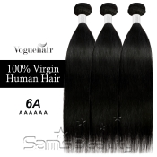 Vogue Hair 100 Virgin Human Hair Brazilian Bundle Hair Weave 6A Natural Straight 3 Lot  285g