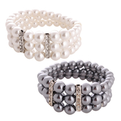 3Line Classic Pearlescent with Rhinestone Bracelet