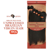 Diva Queen 100 Virgin Human Hair Unprocessed Brazilian Weave 7A Natural Straight 7Pcs