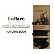 LaFlare Unprocessed Brazilian Virgin Remy Human Hair Weave Natural Body Wave 7Pcs Include Perfect Lace Closure