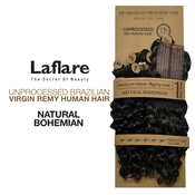 LaFlare Unprocessed Brazilian Virgin Remy Human Hair Weave Natural Bohemian 7Pcs Include Perfect Lace Closure