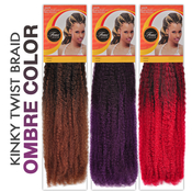 Femi Collection 100 Kanekalon Hair braids Kinky Twist Braid Ombre Color