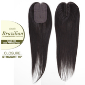 Outre Unprocessed Brazilian Virgin Human hair Weave Simply HandTied Lace Parting Closure Straight 16