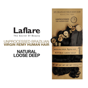 LaFlare Unprocessed Brazilian Virgin Remy Human Hair Weave Natural Loose Deep 7Pcs Include Perfect Lace Closure
