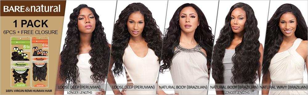 Sensationnel Unprocessed Brazilian Virgin Remy Human Hair Weave Bare
