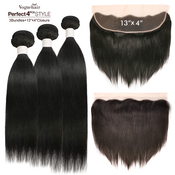 Vogue Hair 100 Virgin Human Hair Brazilian Weave Perfect 4Pcs Style 6A Natural Straight 3Pcs  13X4 Closure