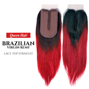 Queen Hair Unprocessed Brazilian Virgin Remy Human Hair weave Lace Top Straight Closure Ombre Colors