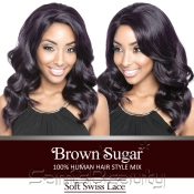 ISIS Human Hair Blend Whole Lace Wig Brown Sugar Soft Swiss Lace BS404