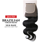Queen Hair Unprocessed Brazilian Virgin Remy Human Hair weave 4X4 Full Lace Top Body Closure