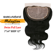 Sensationnel Malaysian Virgin Remy Human Hair Weave BareAMP;Natural 7x4 Swiss Full Lace 3Way Parting Body 12
