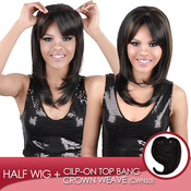 Harlem 125 Synthetic Hair Cilpon Top Bang Piece Crown Weave Natural Part