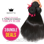 Queen by Ali 100 Virgin Human Hair Unprocessed Brazilian Bundle Hair Weave Natural Straight 3 Bundles