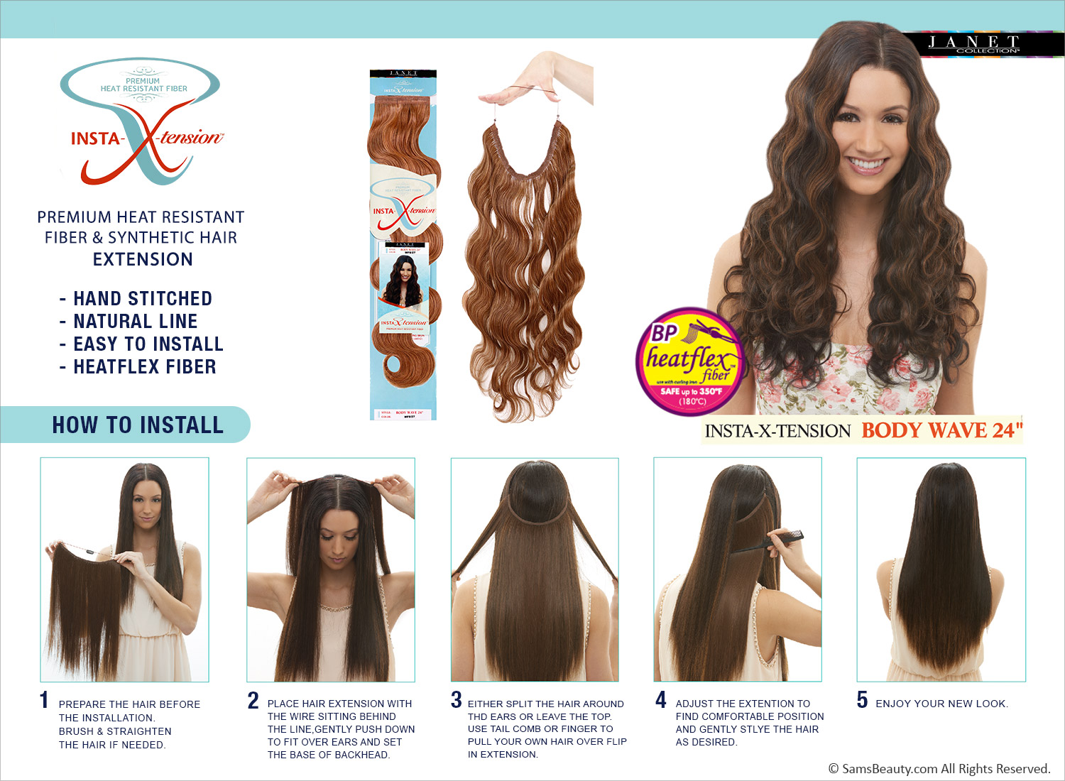 Janet Collection Synthetic Halo Hair Extensions Insta X Tension Body