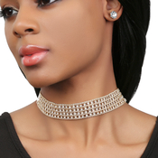 MultiLayered Rhinestone Statement Choker and Earrings Set