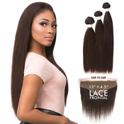 Sensationnel Virgin Remy Human Hair Weave BareAMP;Natural Straight 3pcs with 13x45Closure
