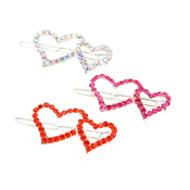 Dainty Doubled Heart Rhinestone Hair Pin
