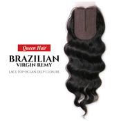 Queen Hair Unprocessed Brazilian Virgin Remy Human Hair weave Lace Top Ocean Deep Closure