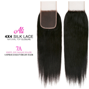 Ali Unprocessed 100 Virgin Human Hair Weave 4X4 Silk Lace Free Part Natural top Closure 7A Straight