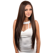 Janet Collection Synthetic Lace Front AMP; Rear Wig Black Pearl Show Girl