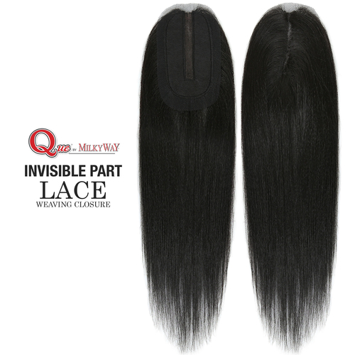 Milky Way Que Human Hair Blend Weave Invisible Part Lace Weaving Closure Straight