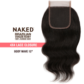 NAKED Nature Unprocessed Brazilian Virgin Remy Human Hair Weave 4X4 Lace Closure Body Wave 12