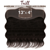 Trill Brazilian Virgin Remy Human Hair Weave 13X4 Swiss Lace Frontal Ear To Ear Closure Body Wave 14