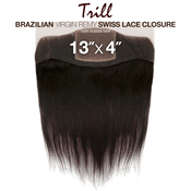 Trill Brazilian Virgin Remy Human Hair Weave 13X4 Swiss Lace Frontal Ear To Ear Closure Straight 14