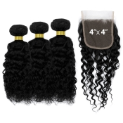 Starlet 100 Virgin Human Hair Unprocessed Brazilian Bundle Hair Weave Jerry Curl 3Pcs  4X4 Closure