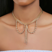 Dangling Linked Half Ball Choker